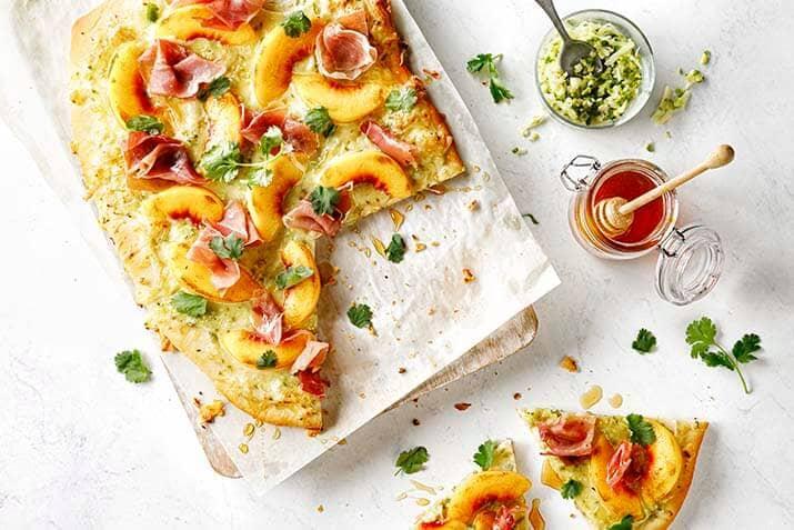 Spicy Peach and Prosciutto Flatbread Recipe Image