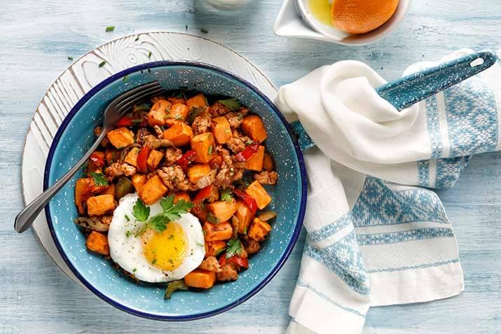Sweet Potato Hash with Hot Italian Sausage Recipe Image