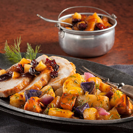 Braised Pork and RoastedRoot Vegetables with Fruit Compote