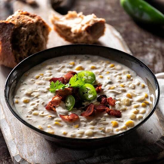 Roasted Corn Jalapeno Cauliflower Chowder