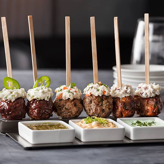 Spicy Chorizo Meatball Potato Pops