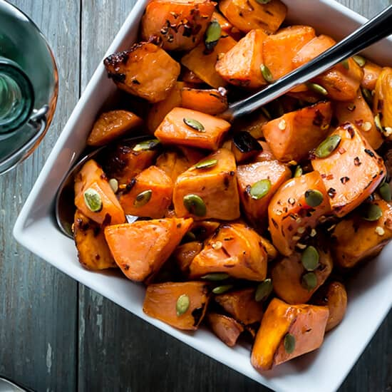 Roasted Maple Sweet Potatoes with Chili Flakes Pumpkin Seeds