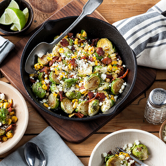 Brussels Sprouts with Corn Jalapeno and Bacon