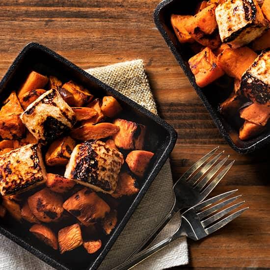 Roasted Sweet Potatoes with Charred Churro Marshmallows